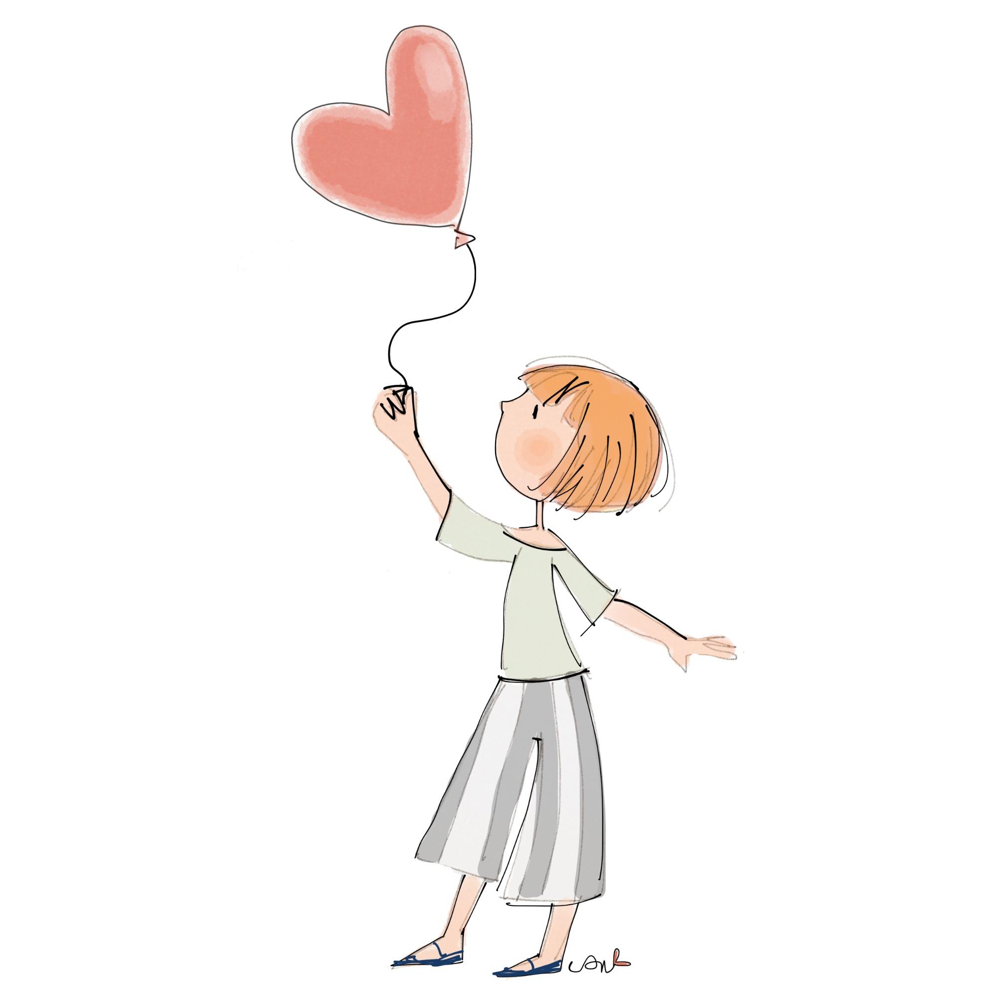 illustrazione donna con palloncino